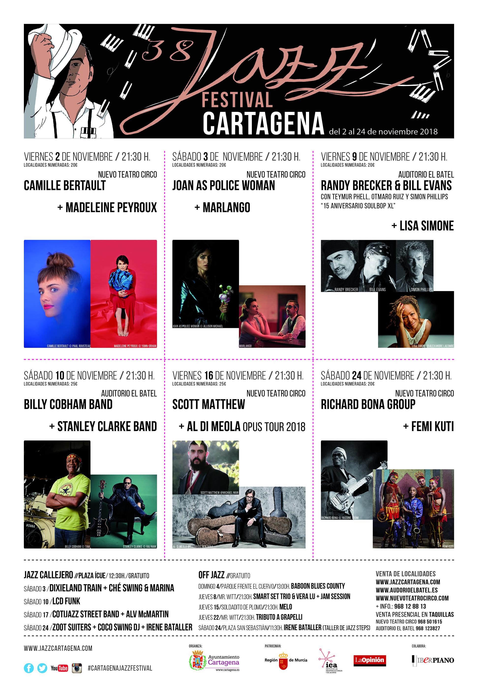 Programa del 38º Cartagena Jazz Festival 2018